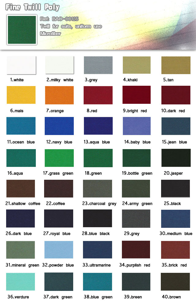 Fabric-Twill for suits uniform use-Fine twill poly-Bussine suits-20101011