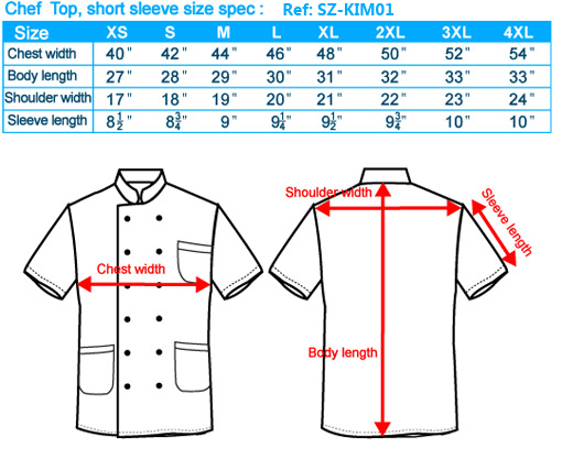size-list-Chef Top-short sleeve-male-20110327