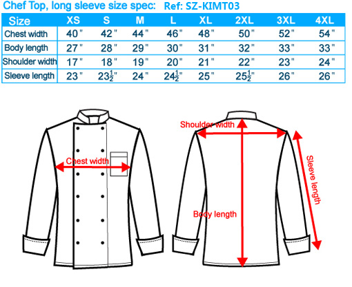 size-list-Chef Top-long sleeve-male-20110327