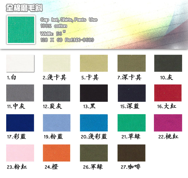 布-100%-Polyester-128 X 60-Cap hat-Shirts-Pants use-全棉磨毛斜-20100316_igift