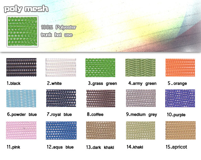 Fabric-100%-Polyester-Turnk hat use-Poly mesh-20100317