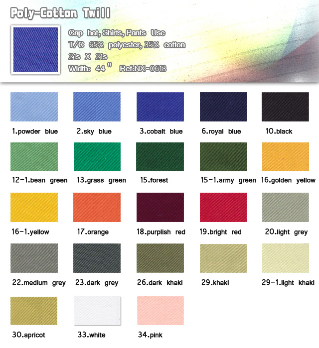 Fabric-65%-Polyester-35%-Cotton-21s X 21s-Cap hat-Shirts-Pants use-Poly -cotton twill-20111121