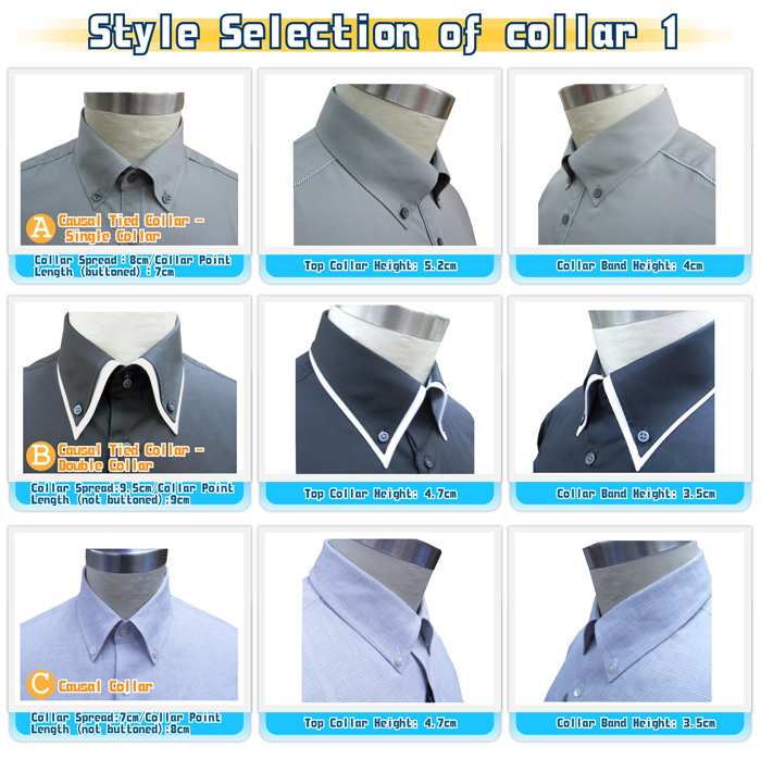 Shirt collar for Different types of dress shirt collars
