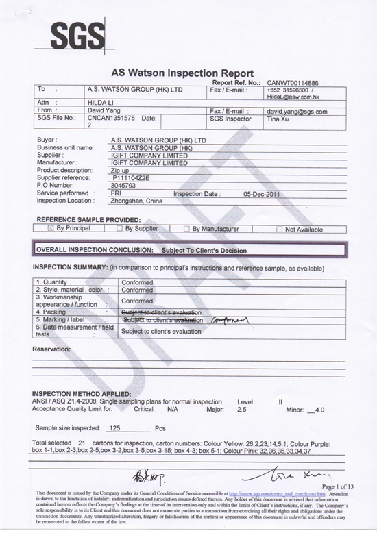 SGS as Watson  Inspection Report-1-20130228