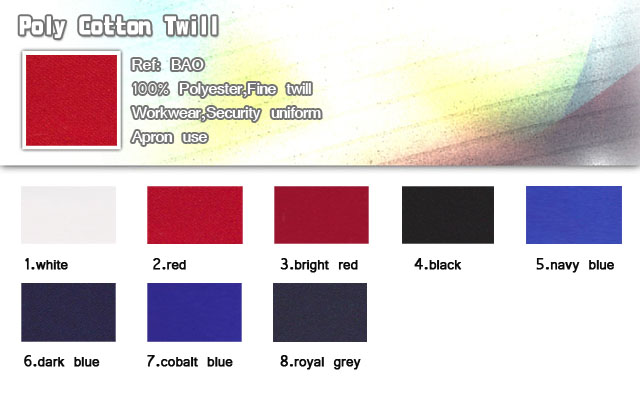 Fabric-Poly Cotton twill-100% polyester-Fine twill- For Workwear-Security uniform-Apron use-20101013