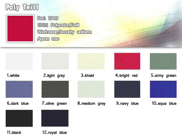 Fabric-Poly Twill-100% polyester-Twill- For Workwear-Security uniform-Apron use-20101013
