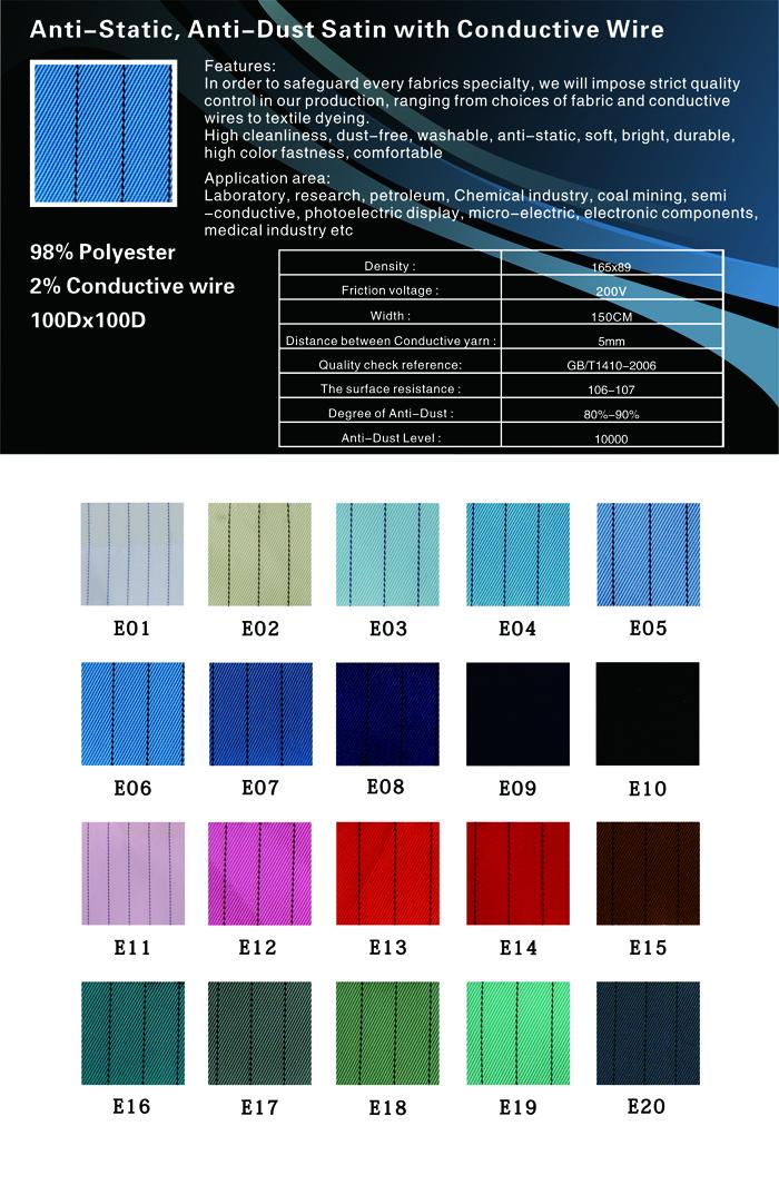 布-工程制服布-防静电绸洁净布导电绸(5mm竖条防静电绸)