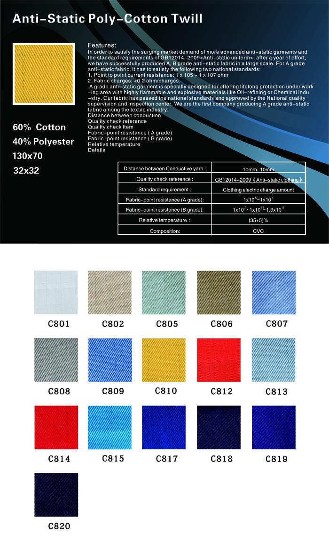 布-工程制服布-新标准涤棉防静电斜纹(130x70)