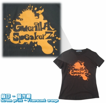 Logo-絲印- 螢光橙-Screen print-Fluorscent-orange-Tee