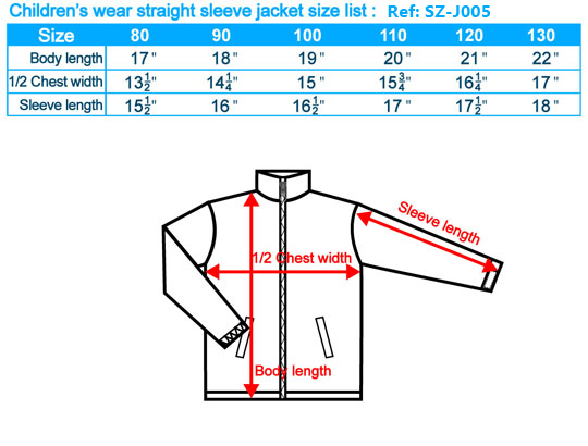 size-list-jacket-straight-sleeve-childlren