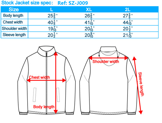 Stock Jacket size spec