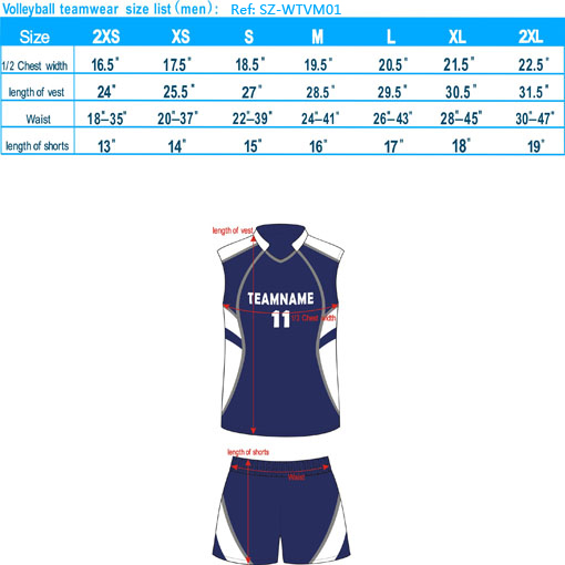 volleyball teamwear size list men-20121127