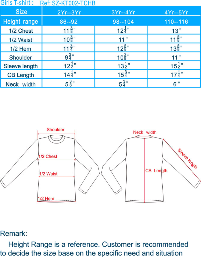 Girl T-Shirt long sleeve size