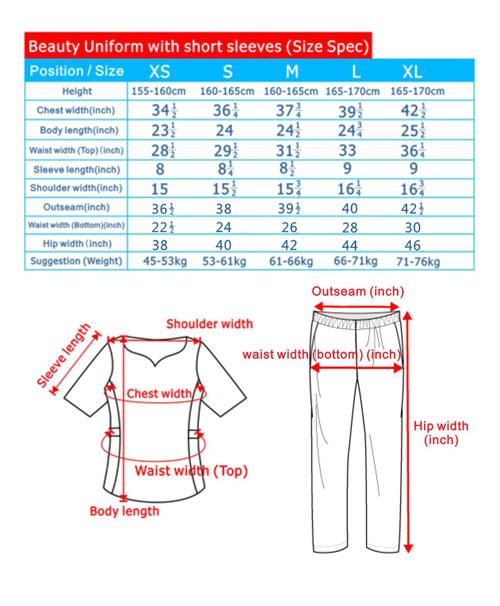 尺碼-美容服制服-短袖