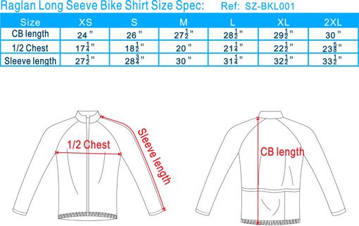 单车衫尺寸表(英文)