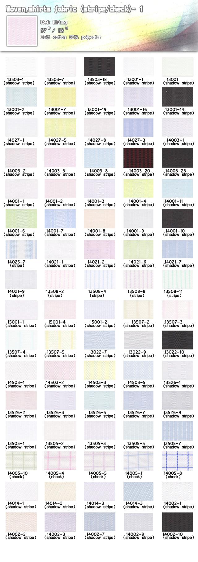 Fabric-Woven-shirts fabric-stripe check-35% cotton-65% polyester-20110602