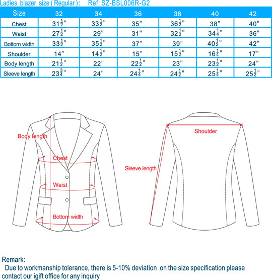 size-Ladies blazer-Regular