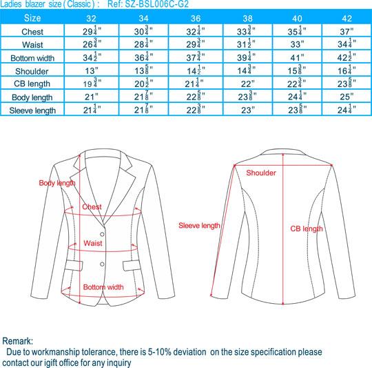 size-Ladies blazer-Classic