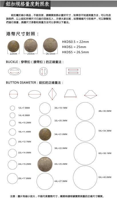 鈕扣規格量度對照表