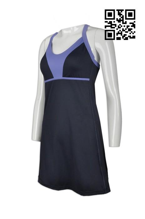 TF047 製作度身緊身運動服款式   自訂緊身運動服款式  連身泳衣  運動連身裙 羽毛球 網球 訂做緊身運動服款式  緊身運動服製衣廠