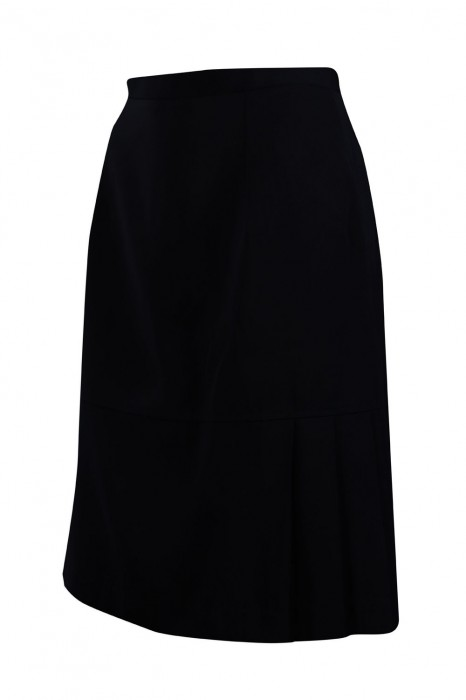 US011 設計黑色半身西裙 鈕扣拉鏈 西裙供應商
