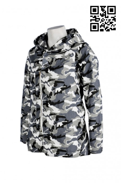 J463 迷彩 WAR GAME 野戰外套  訂造女裝休閒風衣  全件印花   迷彩連帽長袖外套  時尚百搭外套 雙層拉鏈設計   風褸專門店