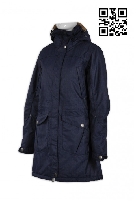 J538設計時尚長款外套 訂製修身女外套 夾棉 帽有毛 長風衣 英文 長身風褸袍 冬季禦寒大褸 個人設計長款外套 風褸外套中心