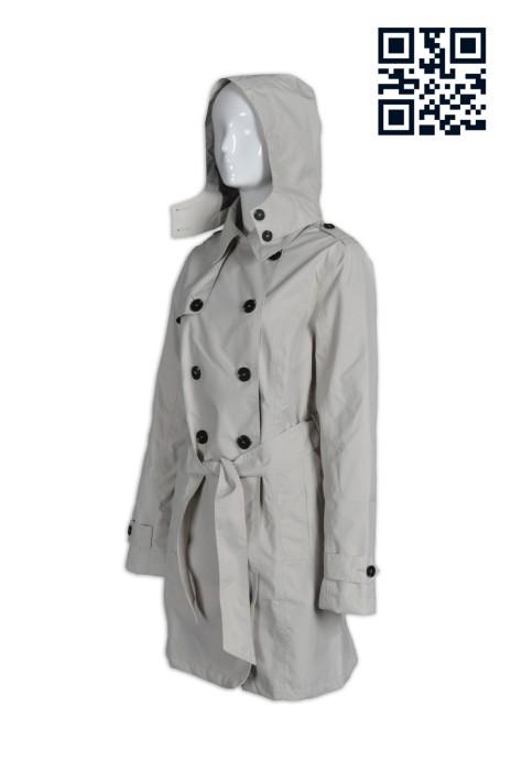 J560訂製長款束腰女款風褸  乾濕褸 漁夫褸 腰帶 雙襟孖襟 英式大褸 自訂修身女裝風衣 長風衣 英文 網上下單風衣 風衣供應商 長袖英倫外套