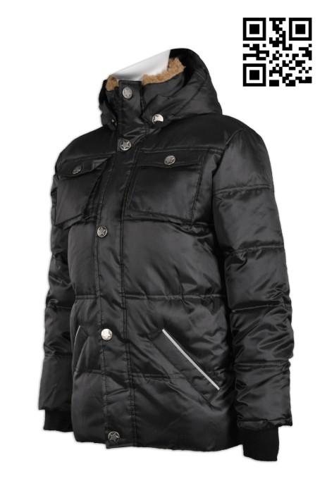 J536製造防寒羽絨外套 訂印個性夾棉外套 啪鈕款 來樣訂造夾棉外套 女裝羽絨 外套制服公司