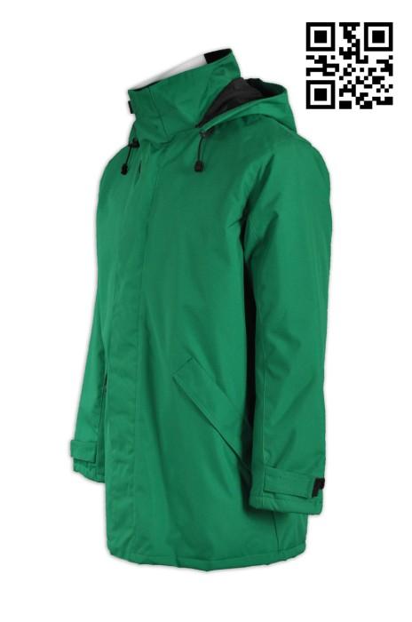 J553訂購夾棉保暖外套 設計長款夾棉外套 內藏手機套 大褸 衫袋拉鍊款供應夾棉外套 夾棉外套製造商