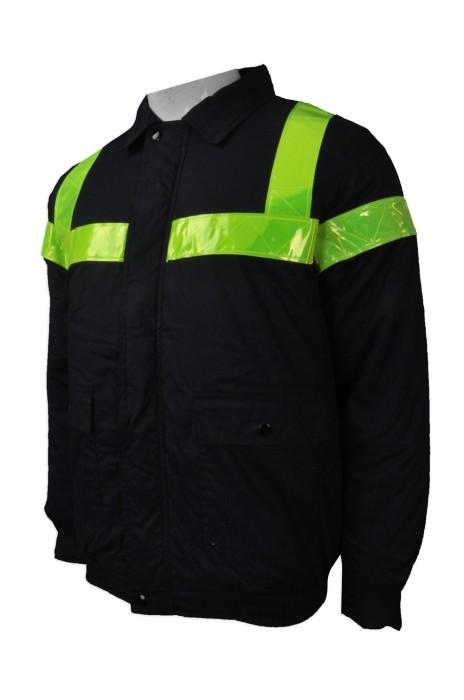 J706 訂購夾棉保暖外套  設計反光條夾棉外套 凍房  棉褸  棉外套 訂造加厚拉鏈外套  澳門航空食品供應股份有限公司  外套專營 雪褸