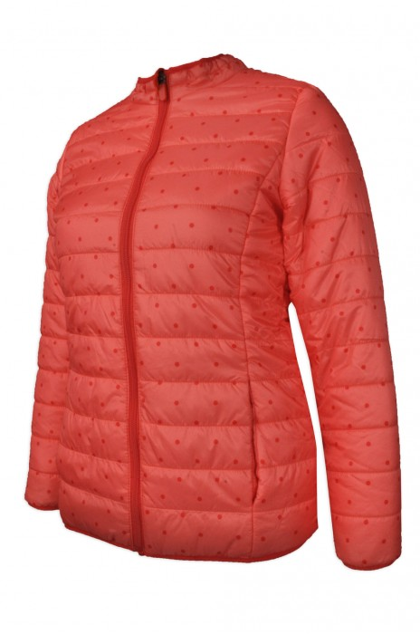 J710  製造時尚修身羽絨風褸   設計波點女款羽絨外套  凍房 網上下單羽絨外套  羽絨外套製衣廠 雪褸