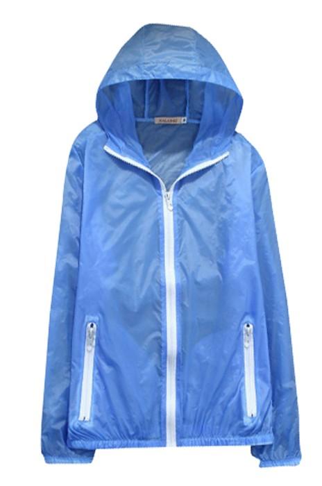 SKJ013 供應團購皮膚風衣 製造夏季超薄防曬衣外套 透氣廣告皮膚風衣 風衣專門店