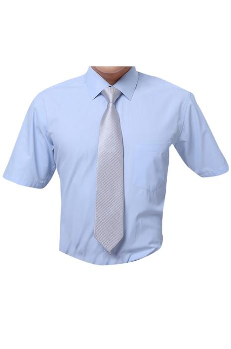 SKR006 製作職業辦公室男女裝恤衫   設計斜紋恤衫款式   自訂短袖恤衫款式    短袖恤衫製衣廠