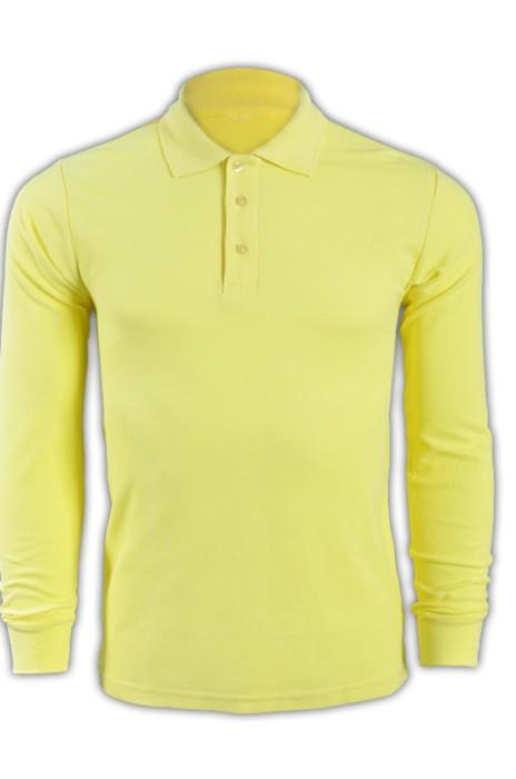 純色 黃色044長袖男裝Polo恤 1AD01 訂做純色長袖polo恤 運動舒適polo恤 polo恤生產商   Polo恤價格