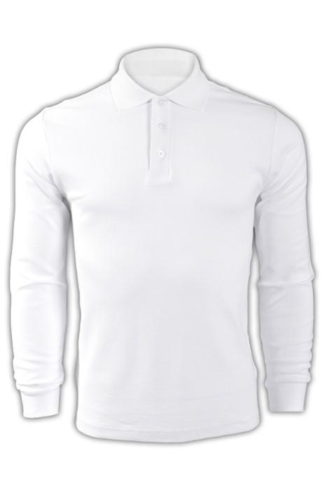 純色 白色001長袖男裝polo恤 1AD01 供應訂購DIY團體LOGO polo恤 polo恤香港公司  Polo恤價格