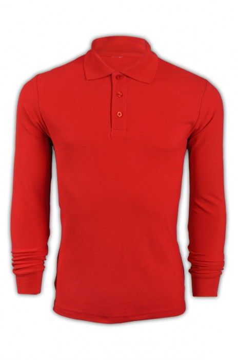 純色 大紅色030長袖男裝Polo恤 1AD01 設計訂製DIY純色polo恤 polo恤供應商  Polo恤價格