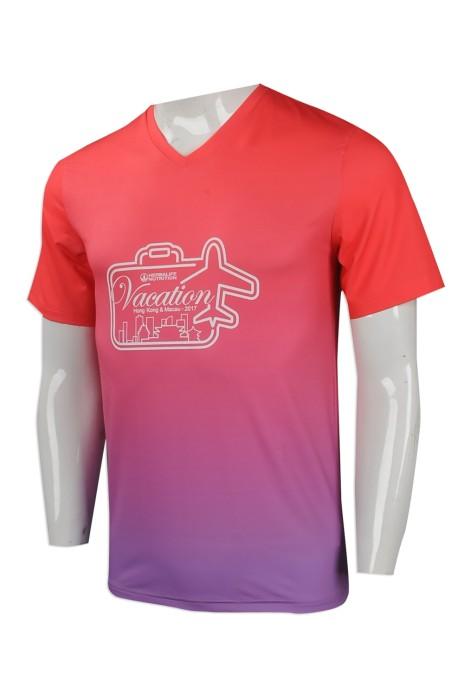 T858 網上訂購男裝短袖T恤 印製男裝v領T恤  漸變顏色 設計男裝短袖T恤生產商