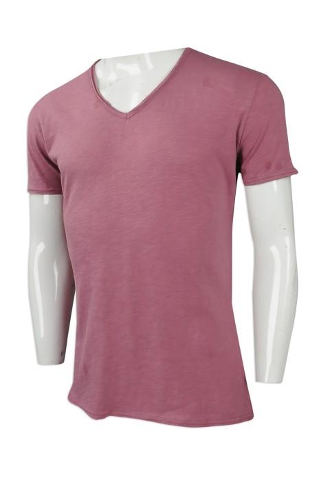T873 設計淨色V領T恤  來樣訂做短袖修身T恤 RB 瑞士 花紗 大量訂造男款T恤 T恤供應商