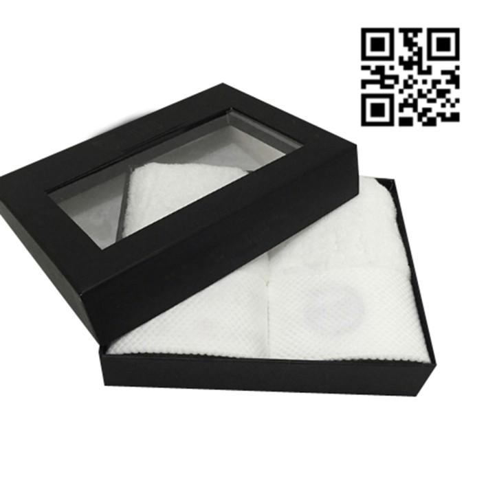 TWLP002 訂造精裱開窗毛巾盒款式   設計燙金LOGO毛巾盒款式    自訂毛巾盒款式    毛巾盒製衣廠