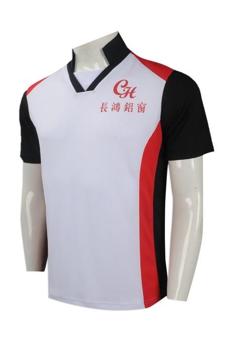 P980 來樣訂做男裝短袖polo恤 製作團體員工制服polo恤 香港 五金行業印製員工制服 鋁窗 V領 polo恤批發商