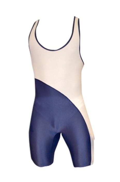 SKTF016 斜拼連體摔跤服 健身彈力緊身衣 舉重訓練服工廠店 90%聚酯纖維+10%萊卡 一件頭男泳衣