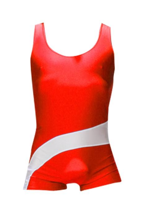 SKTF017 個性連體摔跤服  健身房彈力緊身衣舉重服  90%聚酯纖維+10%萊卡 拼色連體摔跤服 舉重運動衫