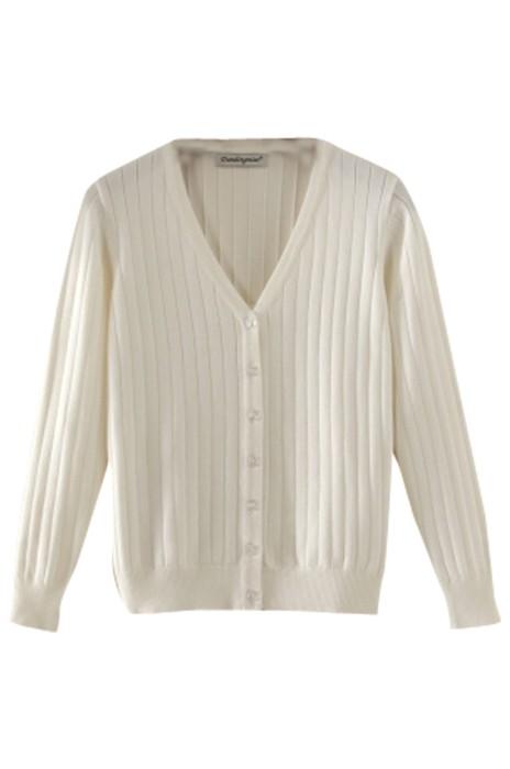 SKSW015 製作女裝短款薄款針織衫 女開衫毛衣  V領長袖修身純色小外套  毛衫外套供應商