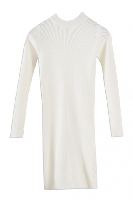 SKSW018 製造中長款修身針織裙子  女裝長袖圓領套頭毛衣裙 連衣裙針織打底衫  毛衫裙製造商