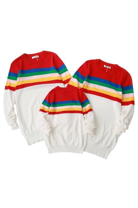 SKSW025   訂購親子裝彩虹毛衣 套頭圓領純棉針織衫  供應親子裝彩虹紋毛衣 毛衣供應商