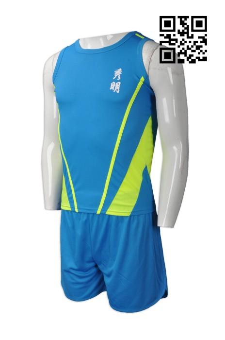 WTV140 訂購田徑隊運動裝  設計吸濕排汗運動套裝  來樣訂造田徑服  田徑服供應商
