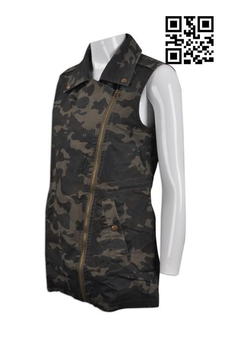 V154 訂購修身女款背心外套 製作迷彩時尚背心外套 金屬拉鍊 度身訂造背心外套 迷彩綠 背心外套製衣廠
