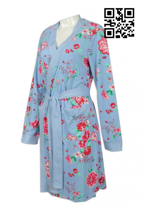 BR001 訂做個性浴袍款式    設計女裝浴袍款式     自訂浴袍款式   浴袍製衣廠