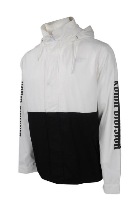 J743 度身訂製風褸外套 團體訂購風褸外套 晨間外套 風褸 網背 設計帶帽款風褸外套 黑白撞色 鈄布外套褸 薄夾克外套 美國 RONIN 風褸外套生產商